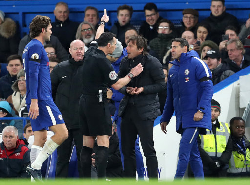 Chelsea boss Antonio Conte sent to the stands against Swansea