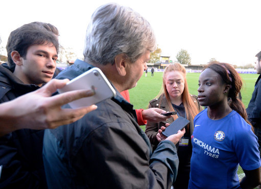 Chelsea Ladies Eniola Aluko talks to Paul Lagan after the 6-0 win, in the Women's Super League match against Yeovil Town at Kingsmeadow Stadium, earlier this season