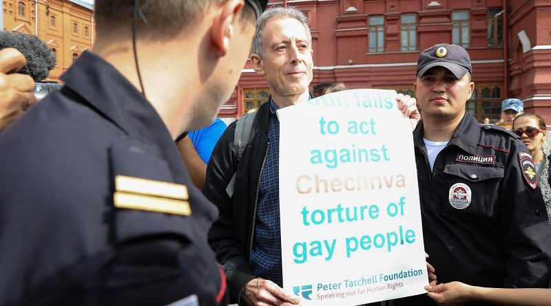 Tatchell charged for Russia protest