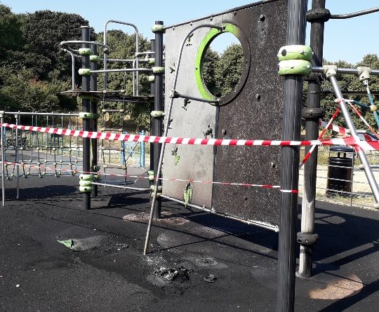 Arsonists set fire to part children's playground in South-east London for third time in three years