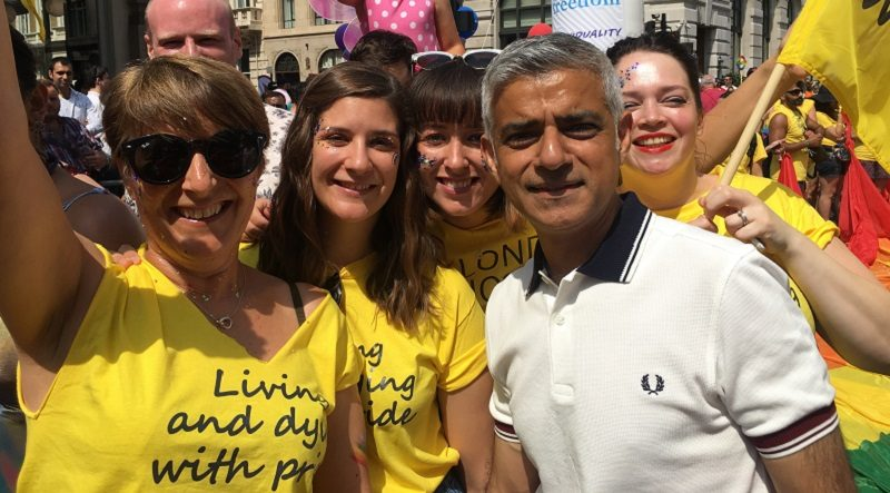 St Christopher's Hospice staff march at London Pride