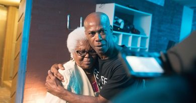 Co-founder of a Brixton sports centre for disadvantaged people, Steadman Scott is pleased as punch to hug his mum