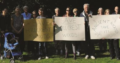 Town hall in SINC with campaigners who have saved threatened woods