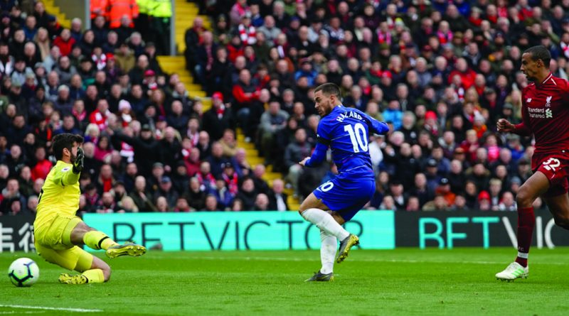Eden Hazard strikes the Liverpool post Photo by Sean Gosling