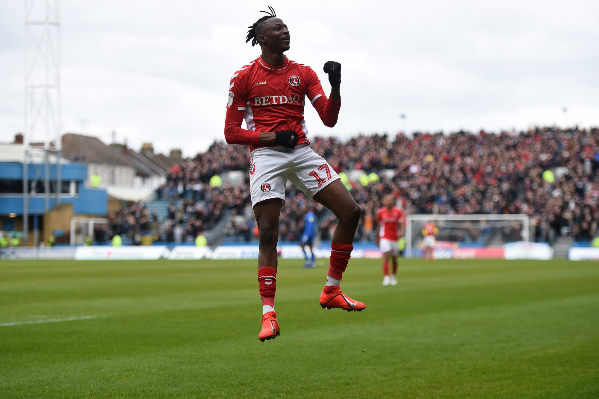 e8c23e5329e Charlton Athletic s Joe Aribo celebrates scoring his side s first goal of  the game