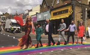 Merton council installs Rainbow Crossing in Wimbledon Broadway to celebrate the town's inclusivity