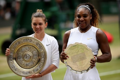 Simona Halep (left) celebrates with her trophy after winning the women's singles final, alongside runner-up Serena Williams