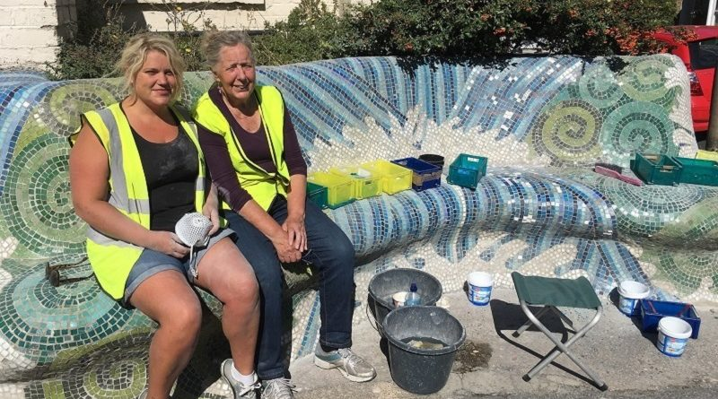 Colourful mosaic benches in Charlton are given a facelift after 40 years